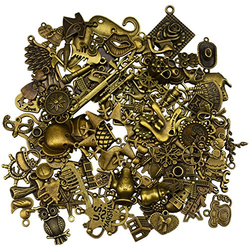 Color: Bronze, Weight: 0.5g ~ 10g, Size: 1cm ~ 6.5cm, 100 different shapes, different shape with different size & weight. Antique charms are made of metal, well made, unique, and beautiful. Perfect for what you want to do with them - earrings, bracel...