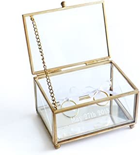 Personalized Glass Ring Box, Wedding Glass Ring Bearer Box, Custom Wedding Ring Box, Ring Bearer Box