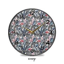 AngelDOU Decorative Wall Clock Silent & Non-Ticking Quartz Clock Exotic Flamingo Zebras and Flowers Tropic Animals Abstract Acrylic Lightweight Round 11.9