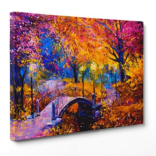 Quadro su Tela Canvas - INTELAIATO - Pronto da Appendere - Leonid Afremov - Central Park NY New York - 30x40cm - Senza Cornice - (cod.2219)