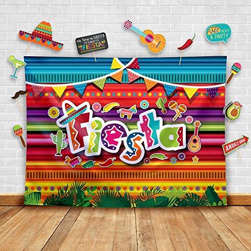 Temático Fiesta - Telón de fondo de fotografía mexicana de verano y accesorios de estudio. Fondo para fotomatón suministros para fiestas de cumpleaños, Disfraz y decoraciones para eventos de Luau