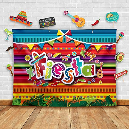 Temtico Fiesta - Teln de fondo de fotografa mexicana de verano y accesorios de estudio. Fondo para fotomatn suministros para fiestas de cumpleaos, Disfraz y decoraciones para eventos de Luau