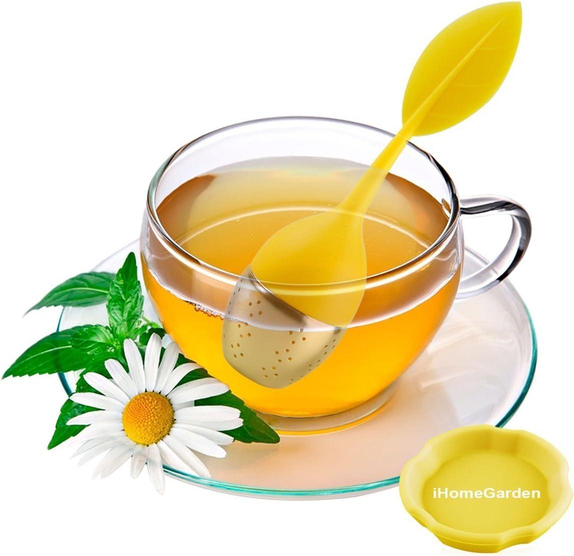 HelpCuisine/® teekugel teesieb teeei teefilter Tea Infuser Set 2 St/ück modernes Blatt Design aus hochwertigem Silikon 100/% BPA frei und rostfreiem Edelstahl 2er Set Gr/ün