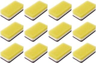 スキン スポンジ 抗菌タイプ (台所用) 12個入り 台所 キッチン用 キッチンスポンジ 油汚れ 長持ち (1個×12) (イエロー)