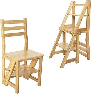 Navaris Escabeau Chaise en Bois - Chaise Convertible en Escalier 4 Marches - Meuble Pliant Multifonction Décoration Maison...