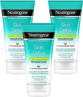 Neutrogena Skin Detox 2-in-1 Reinigung und Maske, Reinigung und Gesichtsmaske mit Glycolsäure und Tonerde 3 x 150 ml
