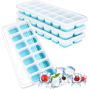 製氷皿 ikich 氷 フタ付き アイストレー 製氷器 【食品級-FDA認証】シリコン 蓋 四角氷 氷モールド アイスキューブトレー お茶やお酒用氷が作れる 14個取 取り出しやすい 4点セット ブルー