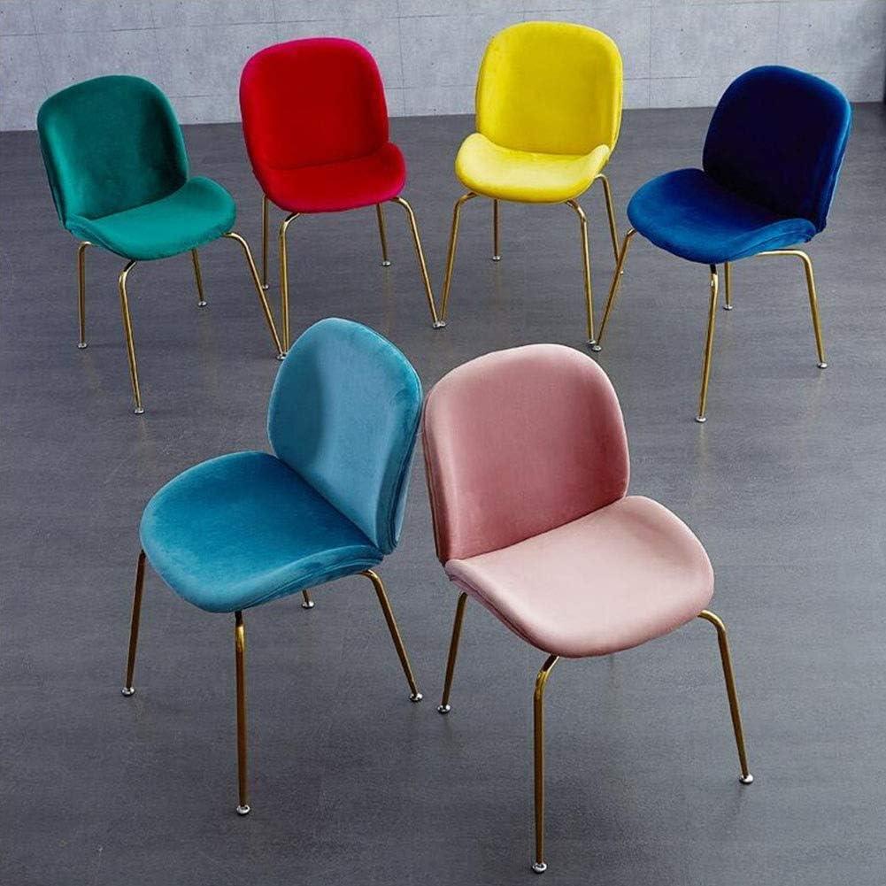 DALL Chaise De Salle À Manger Loisirs Nordiques Chaise De Table Dossier Pattes en Métal Doré Chaise De Maquillage Coussin Doux Chaise De Réception Assemblée (Color : Pink) Blue 2