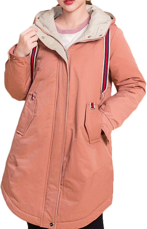 Qiangjinjiu Women Hooded Down Winter Warm Parka Outerwear Zipper Jacket Coat