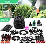 CARER SPARK Drip Irrigation Kit,Garden Irrigation System with 82ft 1/4' Blank Distribution Tubing Hose,Greenhouse Drip Irrigation Set Automatic Saving Water System for Garden,Lawn