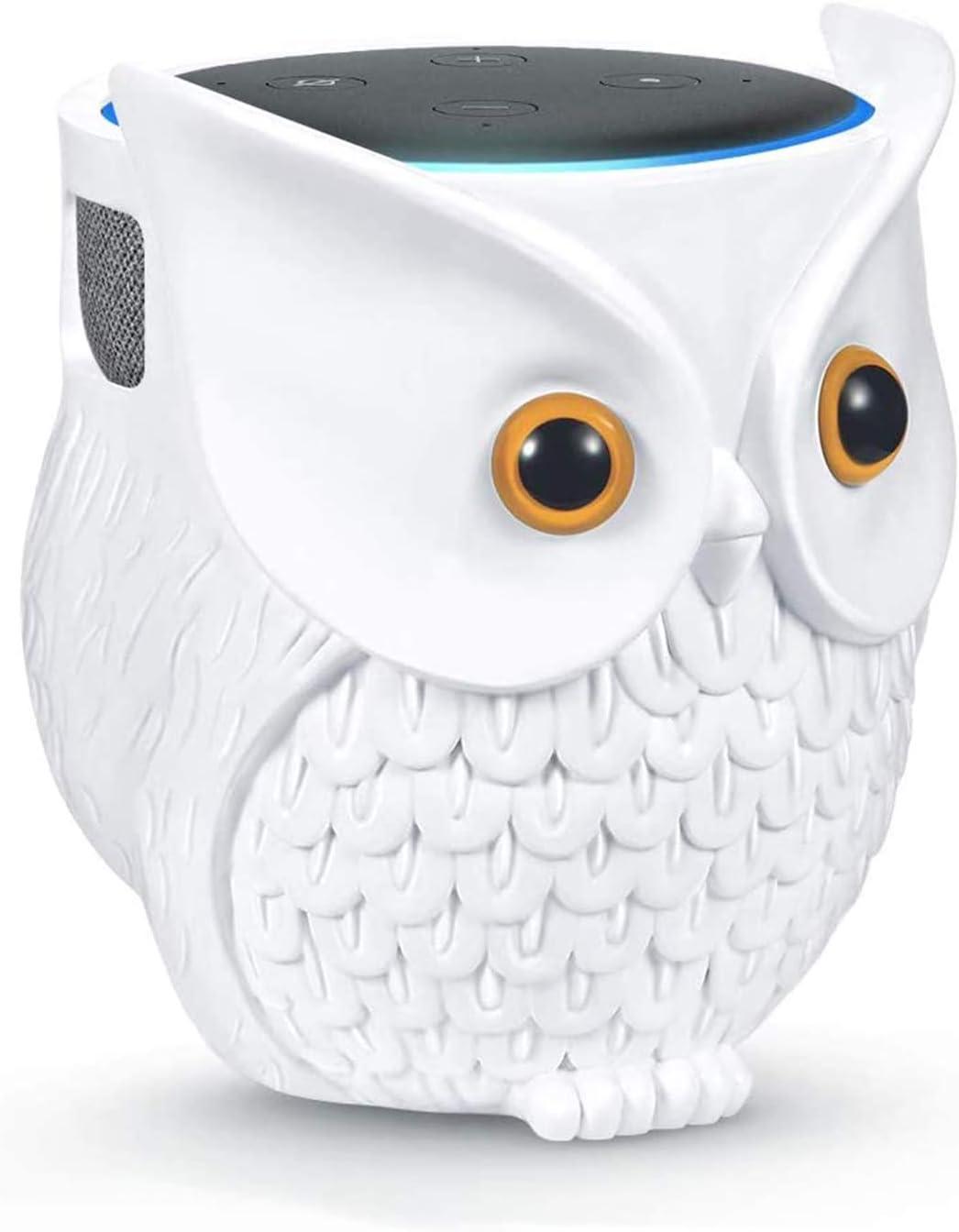 LDYAN Owl Holder Stand, Owl Statue Smart Speaker Holder Stand for Echo Dot 4th/3rd/2nd and 1st Generation, Google Home Mini/Google Nest Mini (2nd Gen),Cartoon Decor Owl Shape Home Decor - White