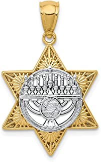 14k Two Tone Yellow Gold Jewish Jewelry Star Of David Menorah Pendant Charm Necklace Religious Judaica Fine Mothers Day Jewelry For Women Gifts For Her