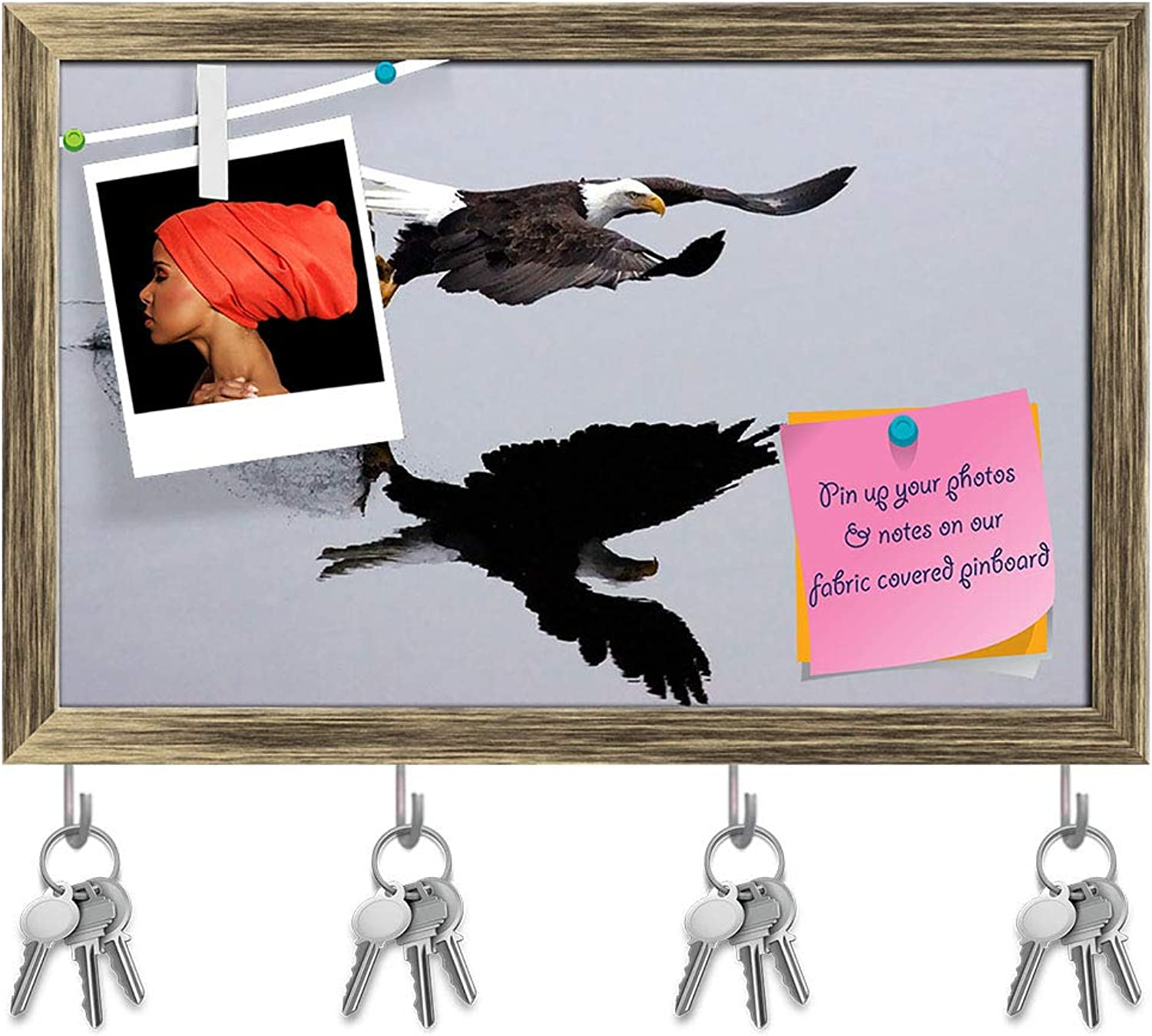 Artzfolio an Eagle Catches A Fish Key Holder Hooks   Notice Pin Board   Antique golden Frame 18.6 X 12Inch