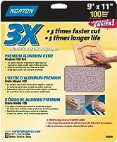 Norton 02620 3X Handy Aluminum-Oxide Sandpaper 100 Grit 9-Inch x 11-Inch 3-Pack [並行輸入品]