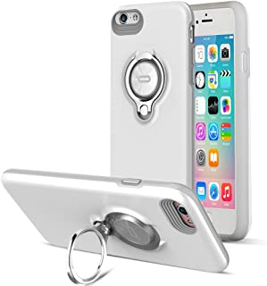 ICONFLANG Compatible Phone case for iPhone 6 Plus Case with Ring Kickstand, 360 Degree Rotating Ring Grip Case for iPhone 6 Plus Dual Layer Shockproof Impact Protection iPhone 6+ Case (Grey White)