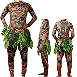 RUEWEY Halloween Adult Men Cosplay Costume Moana Maui Tattoo T Shirt Pants Set with Leaves Skirt (9-10 T, Brown Baby)