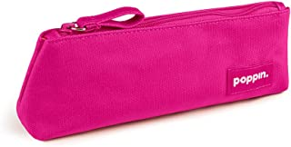 Poppin Canvas Zippered Pencil Holder Pouch, Pink