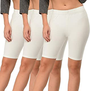 Pixie Biowashed 220 GSM Cotton Lycra Cycling Shorts for Girls/Women/Ladies Combo (Pack of 3) White - Free Size