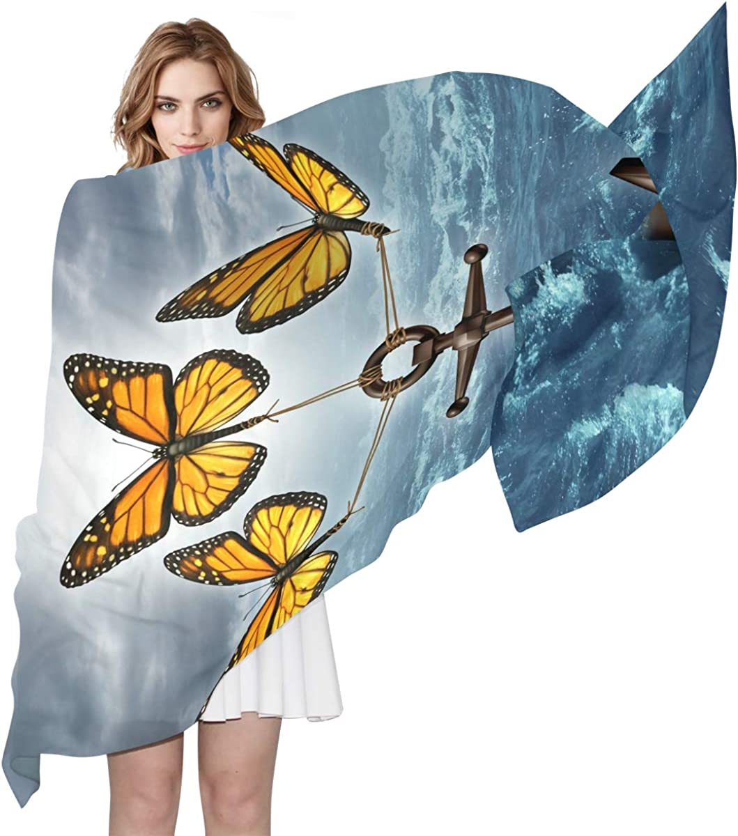 XLING Fashion Scarf Ocean Sea Anchor Butterfly Long Lightweight Sunscreen Scarf Shawl Wrap Muffler Neckerchief for Women Men