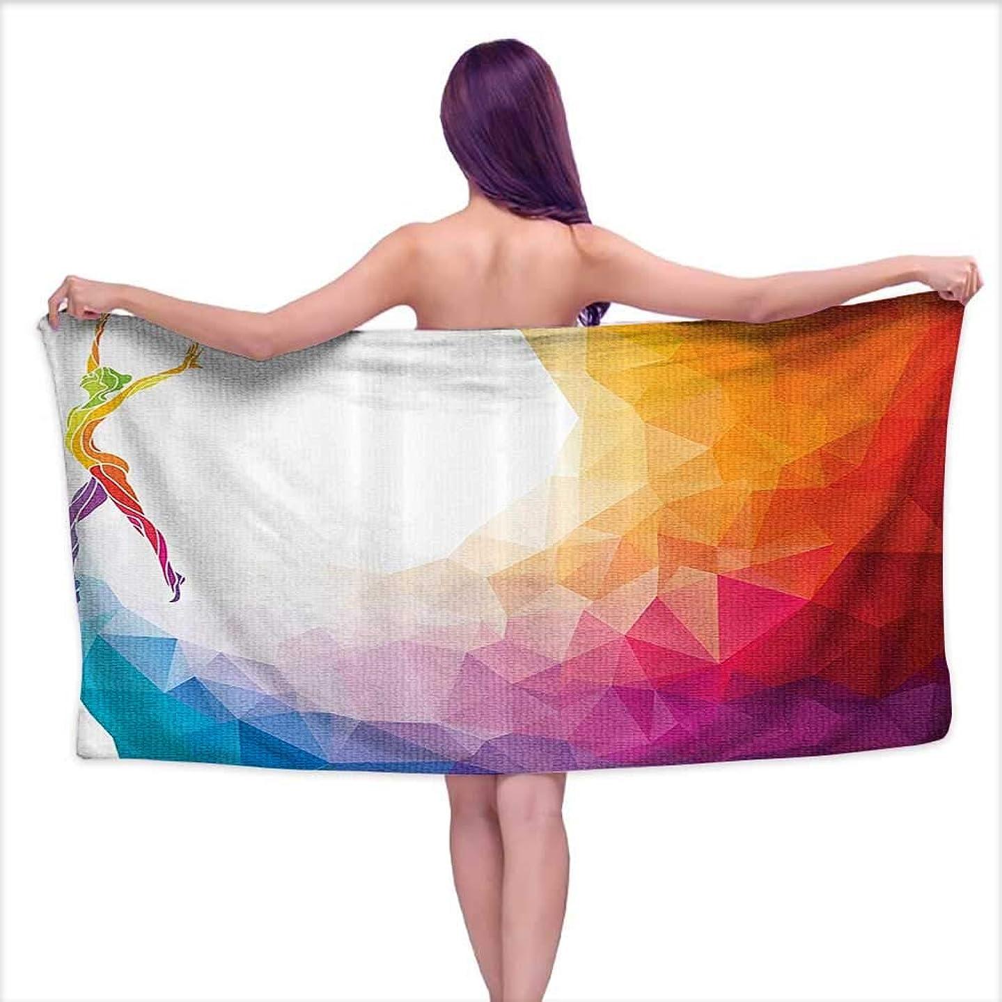 Beach Towel for Kids,Gymnastics Girl Body Gymnast Portrait Colored Digital Shapes Modern Olymp,Beach, Swimming, Bath, Camping, and Picnic W 20