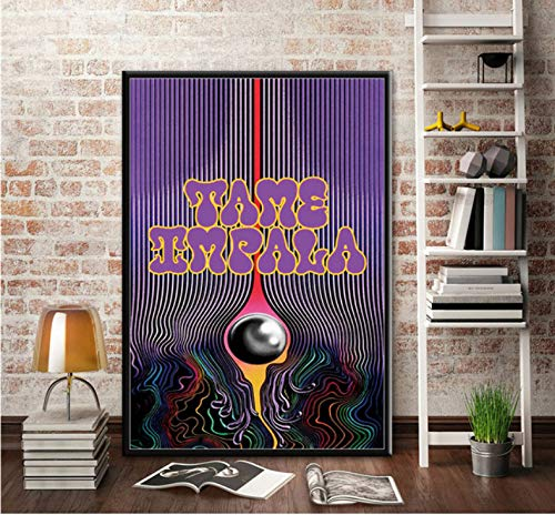 tgbhujk Rock Band Tame Impala Psychedelic Poster Wall Art Canvas Painting Posters And Prints Wall Picture Room Decorative Home Decor 42x60cm Without Framed
