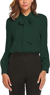 ACEVOG Women Bow Tie Neck Chiffon Blouses Long Sleeve Patchwork Casual Button Shirts