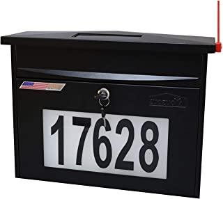 Black Wall Mount Locking Mailbox - Solar House Numbers Light Large Capacity Illuminated at Night - Waterproof Stainless Steel Address Numbers Mail Box Outdoor with Key