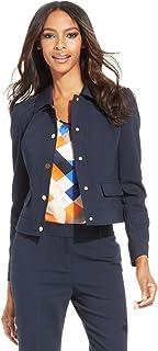 Anne Klein Women 'sブルーpoint-collar snap-frontジャケットネイビー12p