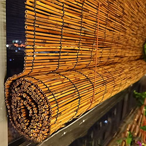 ELLENS Persianas de bambú Persianas Romanas, persianas de láminas con Filtro de luz Natural, persianas Opacas para Ventanas para Interiores y Exteriores, hogar, Oficina, Cocina