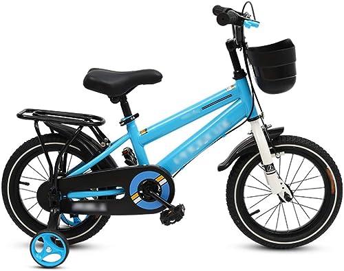 LJJL Vélo à Pied Garçon 2-3-5-6-7-10 Ans Vélo Bleu Enfant 12 14 16 18 Pouces Vélos Enfants