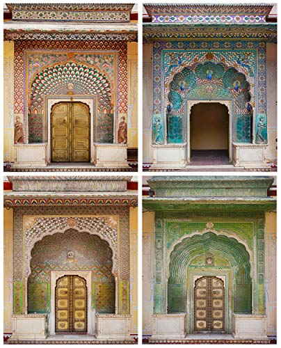 Boho Wall Art Print India - Set of 4, 8x10 - Bohemian Decor for Bedroom, Living Room, Walls - Moroccan Artwork, Indian Home Decor - Rustic, Unframed Pictures of Jaipur Palace Doors, Rajasthan