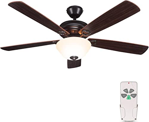 2021 52 Inch online Indoor Oil-Rubbed Bronze Ceiling Fan With Light 2021 Kits and Remote Control, Classic Style, Reversible Blades, ETL for Living room, Bedroom, Basement sale