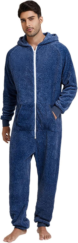 Sleepwear Jumpsuit Men's Long Sleeve Solid Fleece Jumpsuit Zipper Hooded Homewwear Pajamas Nightwear With Pockets