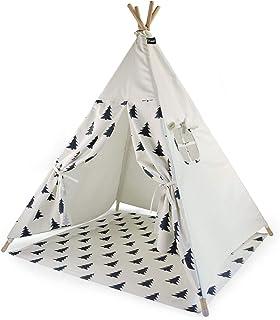 Hej Lønne Barn tipi, vitt tält med trädmönster, ca 120 x 120 x 150 cm stort, lektält med golvtak och fönster, inklusive på...