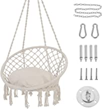 Patio Watcher Hammock Chair Macrame Swing with Cushion and Hanging Hardware Kits, Handmade Knitted Mesh Rope Swing Chair f...