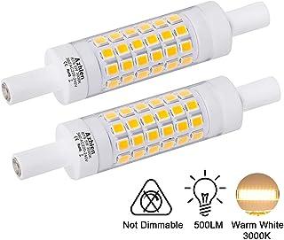 Azhien Bombilla R7S LED 5W 78mm Doble Extremo Lineal Reflector Lámpara,Luz Blanca Cálida 3000K No Regulable,Equivalente a 30W 48W 60W Lámpara Halógena, 230V AC, 500LM, 360 grados, pack de 2