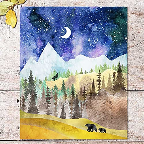 Mountain Art Print, Nature Print, Wild Nature Art, Forest Decor, Watercolor Painting, with Animals, Outdoor Print, Bear, Wolf, No Framed (Large)