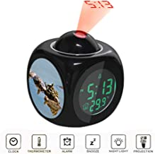 JLHEB Projection Black Alarm Clock Digital LCD Display Voice Talking Table Clocks Temperature Snooze Function Desk Group of Turtles on Body of Water