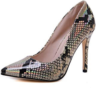 Women Pumps High Heel Snake Print Pointed Toe Plus Size Summer Autum Shoes