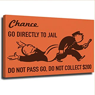 ALEC Monopoly Canvans Framed Chance Card Vintage Monopoly Game Go to Jail Wall Art Prints and Posters 12x16 inch Unframed