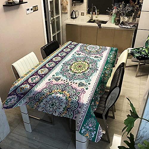 XXDD Mantel de Flores Mandala Rectangular Impermeable a Prueba de Aceite manteles rectangulares Banquete TV Cubierta de Armario Mantel A12 140x160cm