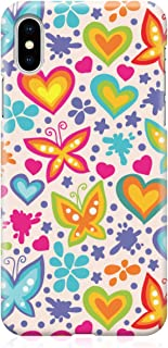 Loud Universe Case for iPhone XS Wrap around Edges Valentines Day Couples Love Butterflies Heart Pattern Sleek Design Heav...