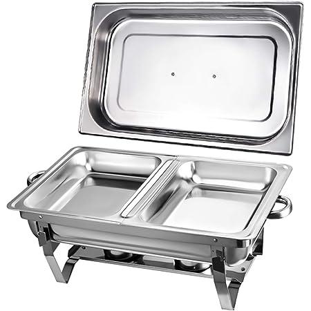 Chauffe-Plats Réchauds en Acier Inoxydable Chafing Dish, Buffet Pleine Grandeur avec Bac à Eau, Bac à Nourriture, Support de Carburant et Couvercle pour Buffet, Mariages, Fêtes,(1Pcs-2/PLATEAU)