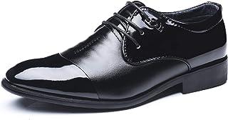 DADIJIER Oxfords Vestido Zapatos para Hombres Redondos Captidos Patemáticas Patente Patente de 3 Ojos Encaje Up Block Tacó...