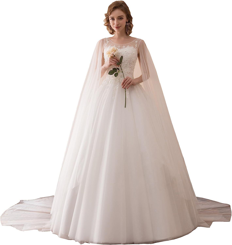 Ikerenwedding Women's ALine Lace Applique Tulle Wedding Dress with Shawl
