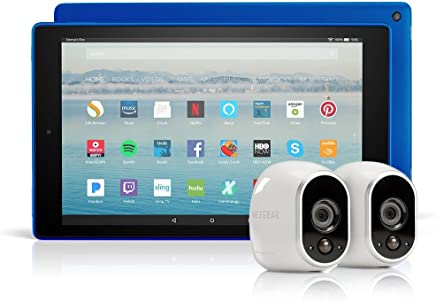 All-New Fire HD 10 Tablet with Alexa Hands-Free, 64 GB, with Special Offers (Marine Blue) + Arlo Security System by NETGEAR