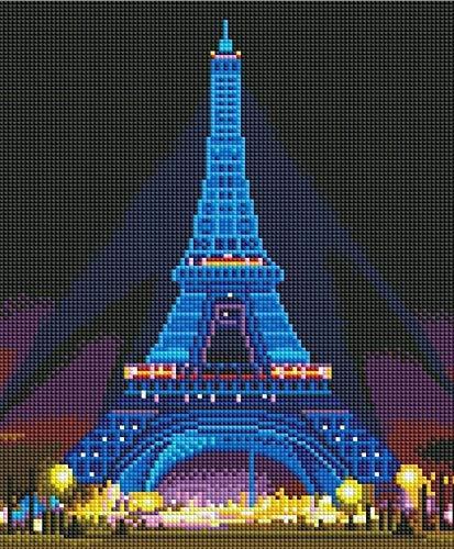 TREEECFCST Diamond Painting Kit Completo Torre De Diamante Luminosa LED Torre Eiffel Navidad DIY DIY Regalo De Cumpleaños Pegatinas Cross Cross Cross con Frame 30x40 5d Diamond Painting F00529