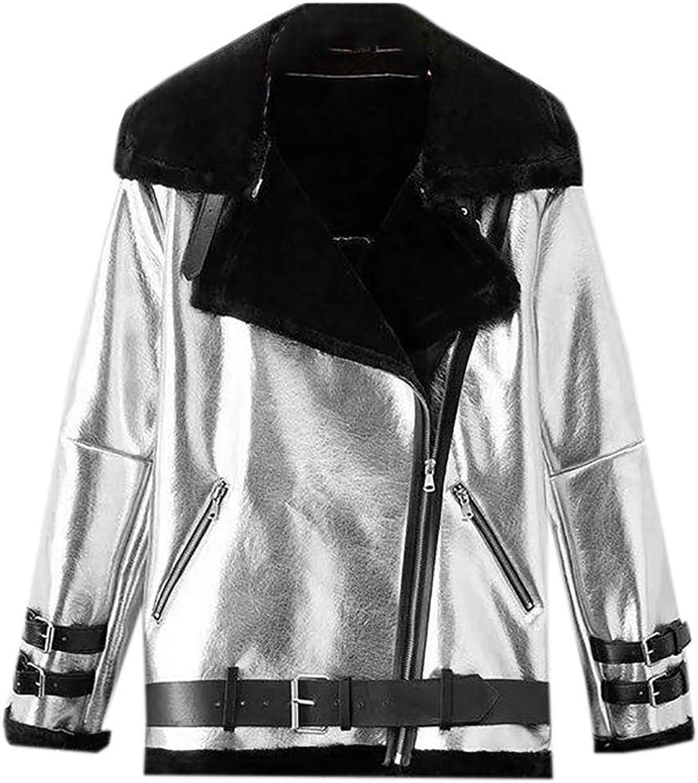 EJLJ Women Moto Biker Fleece Lined PU Faux Leather Thick Lapel Winter Coat