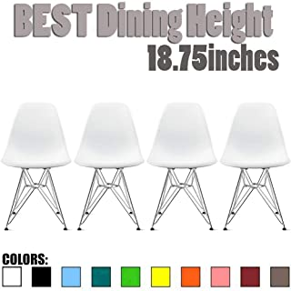 2xhome - Set of Four (4) White - Plastic Side Chair Chromed Wire Legs Eiffel Legs Dining Room Chair - Lounge Chair No Arm Arms Armless Less Chairs Seats Wooden Wood Leg Wire Leg