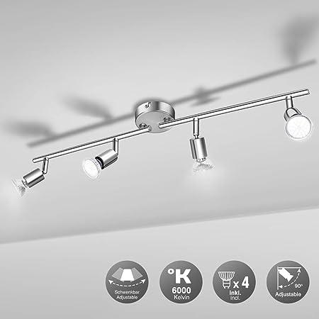 Plafonnier LED 4 Spots, Wowatt Luminaire Plafonnier Orientable 6000k Blanc Froid 4 × 6w Ampoules GU10 incluses 600Lumens Lumineux AC230V Spot de Plafond pour Chambre Cuisine Salle à Manger Couloir